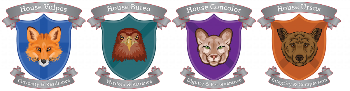 graphics showing house shields House Vulpes, with a fox on a blue background with Curiosity and Resilience; House Buteo, with a hawk on a teal background with Wisdom and Patience; House Concolor with mountain lion on a purple background with Dignity and Perseverance; House Uros with a brown bear on an orange background with Integrity and Compassion