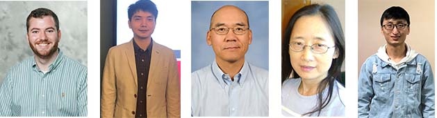 photo collage of lab team members, left to right (left to right) Mr. Jack Evans, Dr. Cong Zeng, Dr. Shan-Lu Liu, Dr. Yi-Min Zheng and Mr. Panke Qu.