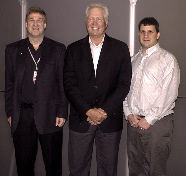 Dr. Warren C. Greene with Center for Retrovirus Research principle investigators (left to right) Drs. Patrick Green, Warner Greene and Jesse Kwiek